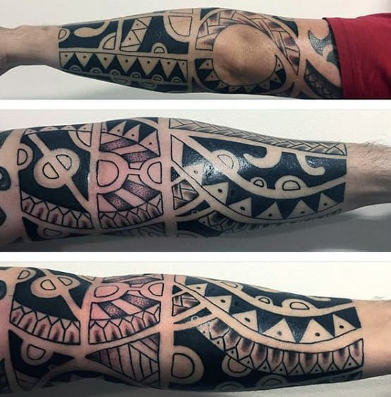 Tribal Forearm Tattoo On Gentleman