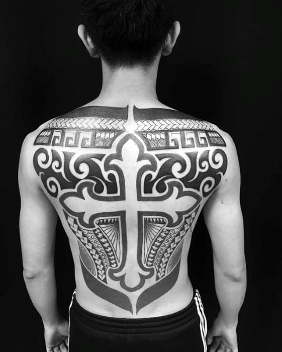 Tribal Full Back Mens Badass Cross Tattoo Ideas