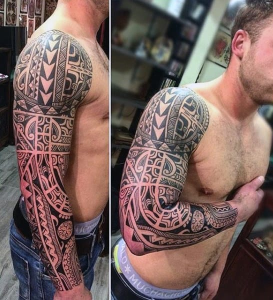 Tribal Full Sleeve Mens Tattoo Designs