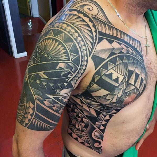 Tribal Guys Polynesian Half Sleeve Tattoo Ideas
