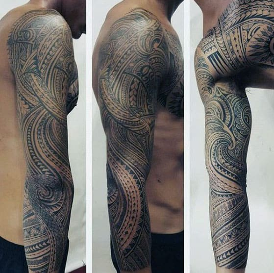 40 polynesian sleeve tattoo designs for men tribal ink ideas. Black Bedroom Furniture Sets. Home Design Ideas