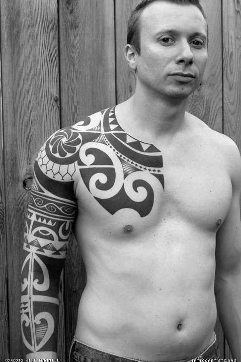 Tribal Guys Tattoos Shoulder Chest And Back