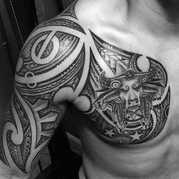 Tribal Half Sleeve And Chest Male Taurus Themed Tattoo Designs