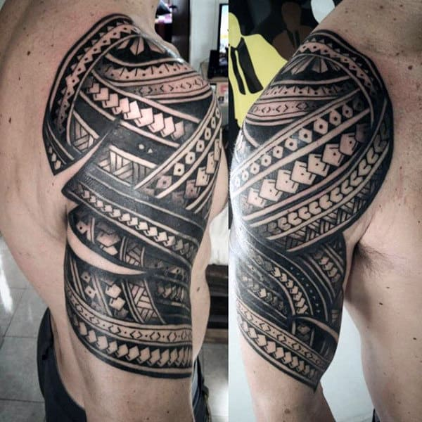Tribal Half Sleeve Polynesian Male Tattoo Ideas