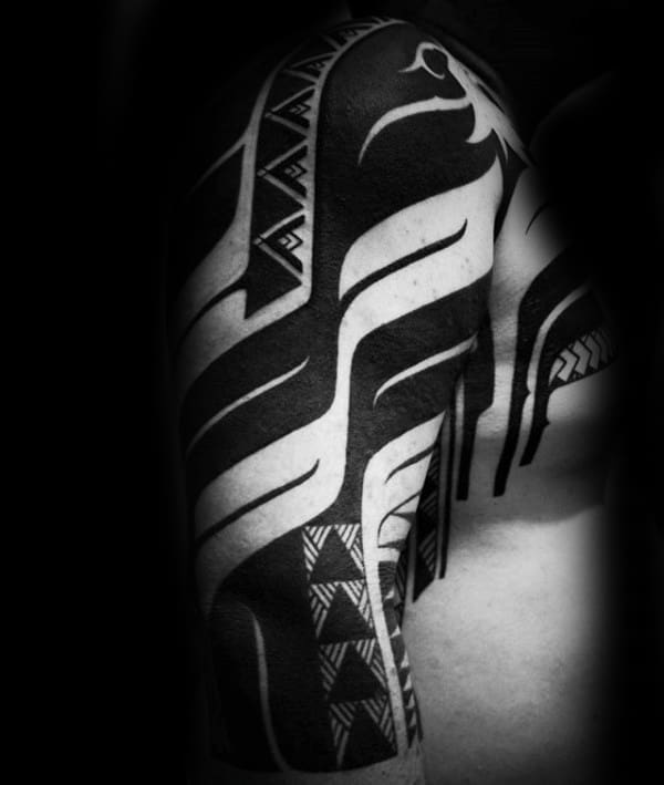 Tribal Half Sleeve Tattoo Blackwork Design For Men