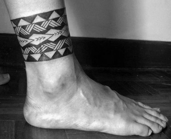 Tribal Hawaiian Ankle Band Guys Tattoo Ideas
