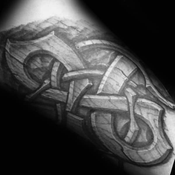 Tribal Knotwork Male Wood Carving Norse Tattoo Ideas On Arms