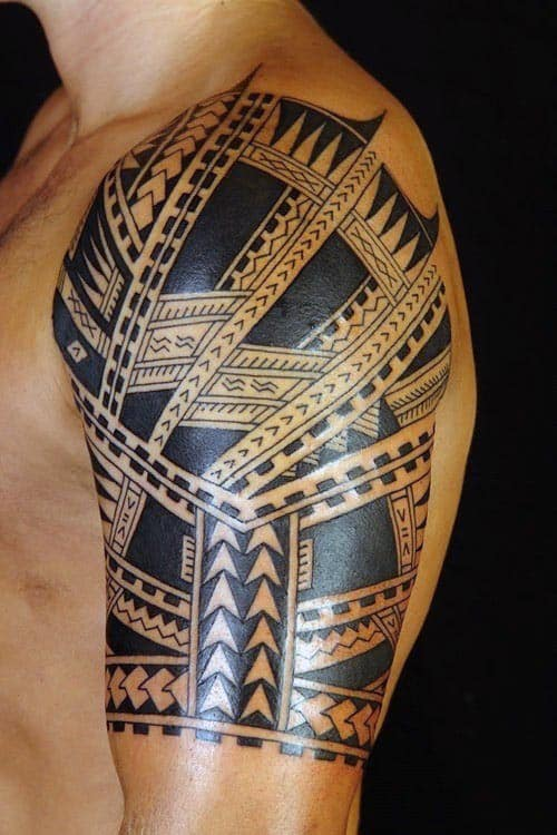 Top 60 best tribal tattoos for men symbols of courage for Tribal half sleeve tattoos