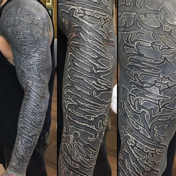 Tribal Lettering Tattoo Guys Full Sleeves