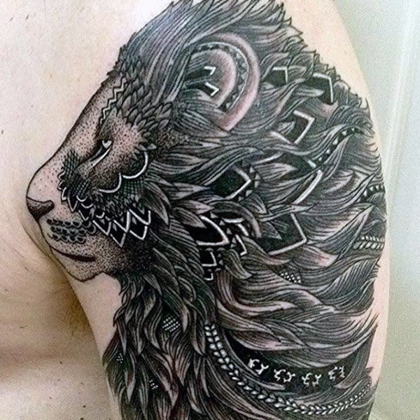 Tribal Lion Men's Tattoo Design