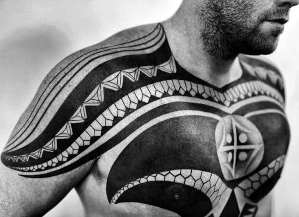 Tribal Male Arm Chest Tattoos