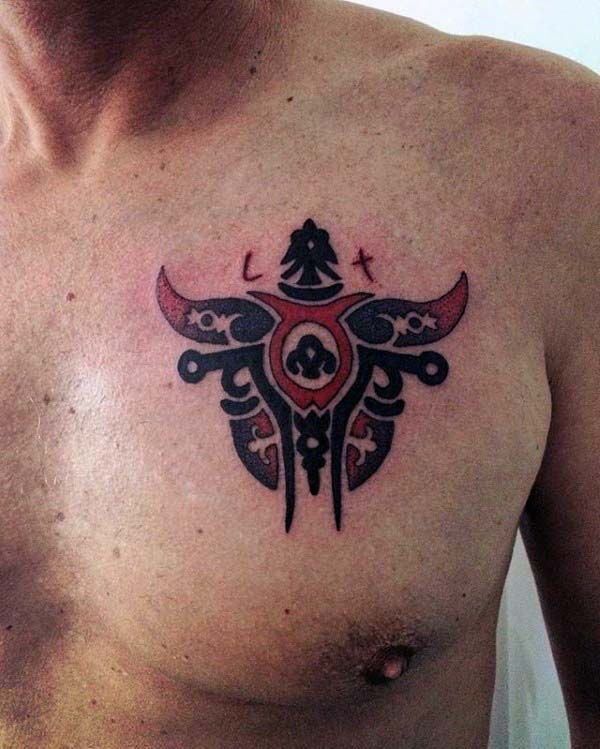 Tribal Male Black And Red Ink Bull Skull Chest Tattoo Designs