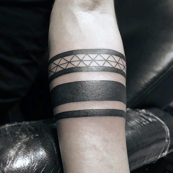 Tribal Male Black Band Forearm Tattoos