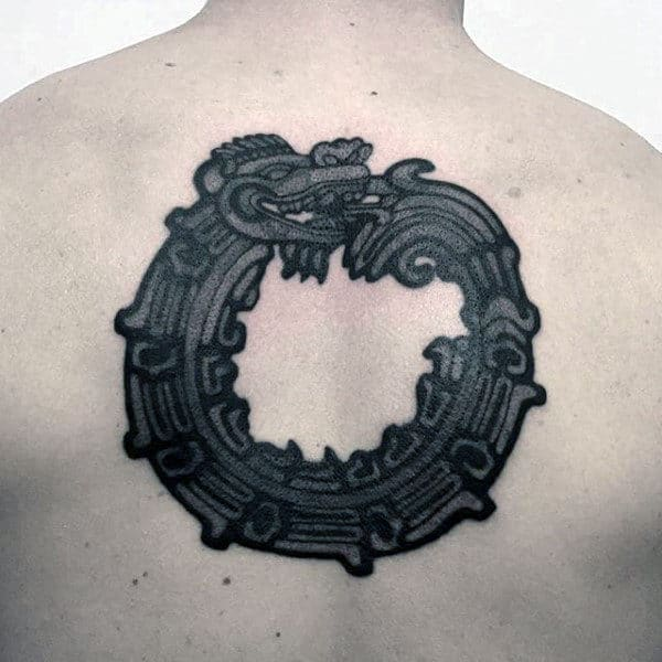Tribal Male Ouroboros Upper Back Tattoo Designs