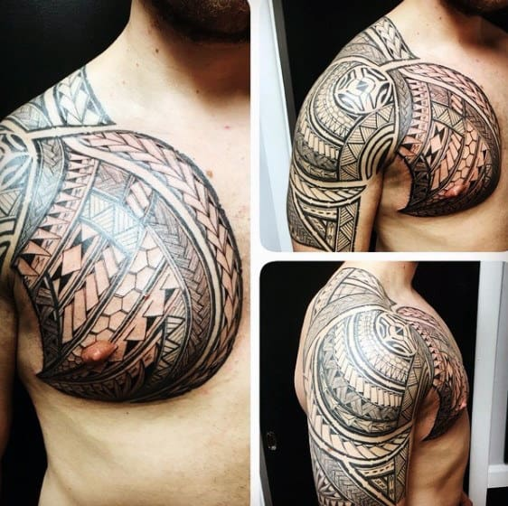 Tribal Male Shoulder Hawaiian Tattoo Design Inspiration