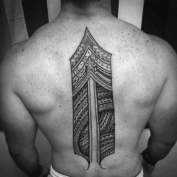 Tribal Male Spine Tattoo With Black Ink