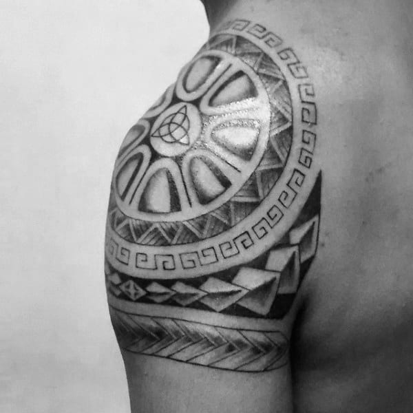 Tribal Male Triquetra Quarter Sleeve Tattoo