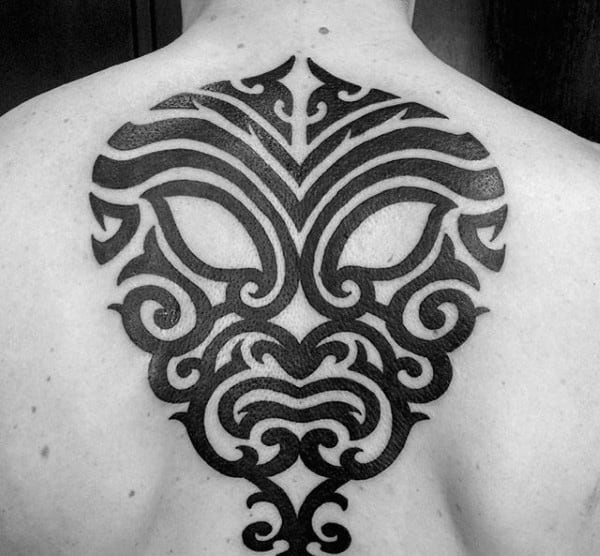 Tribal Mask Original Upper Back Mens Tattoos With Black Ink Design