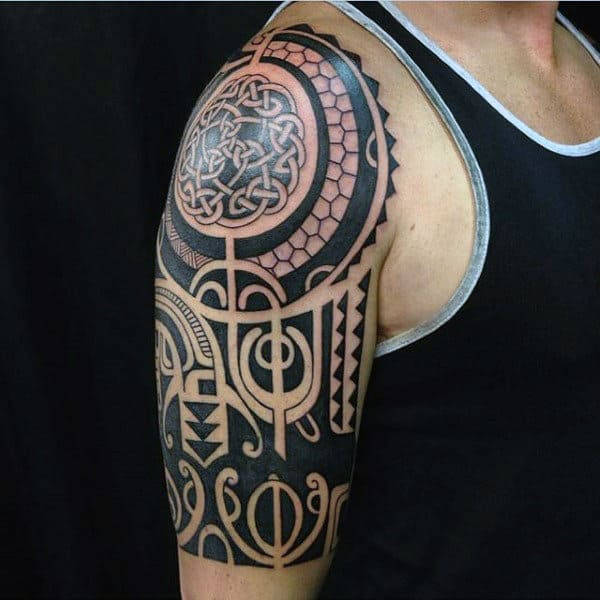 Tribal Mens Celtic Knot Half Sleeve Tattoo Ideas