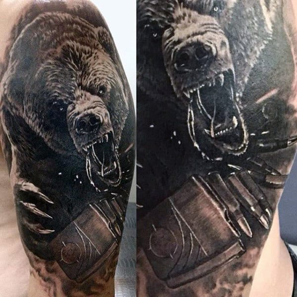Tribal Men's Grizzly Bear Tattoos