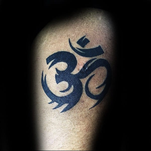 Tribal Mens Om Tattoo On Arm