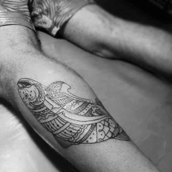 Tribal Mens Pattern Trout Back Of Leg Tattoo Designs