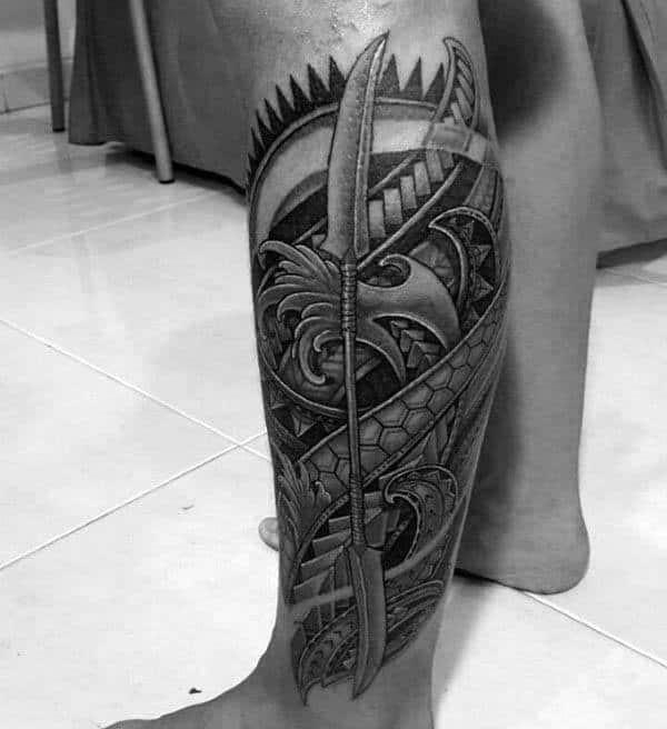 Tribal Mens Spear Leg Sleeve Tattoo