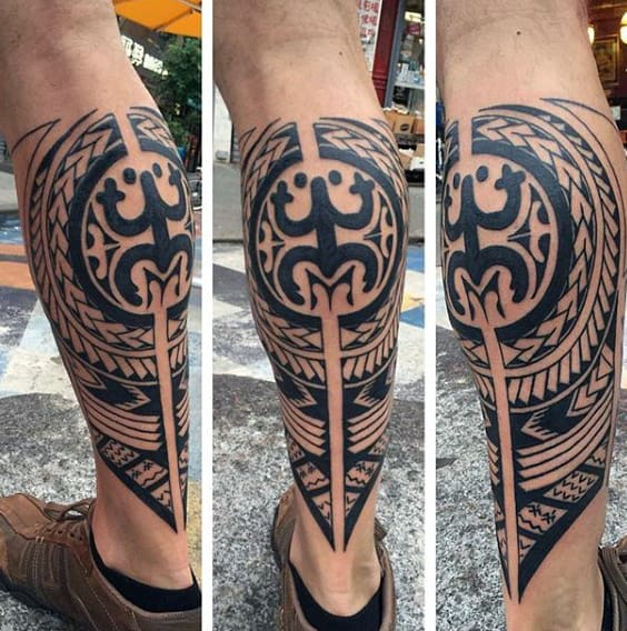 Tribal Mens Taino Conqui Frog Tattoo On Back Of Leg