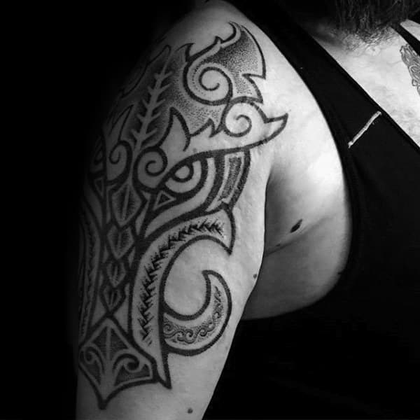 Tribal Mens Unique Boar Arm Tattoos With Dotwork Design