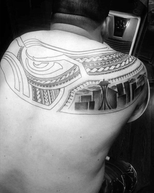 Tribal Mens Upper Back Seattle Skyline Tattoo