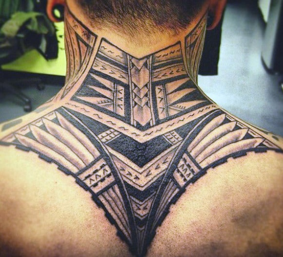 Tribal Neck Tattoo