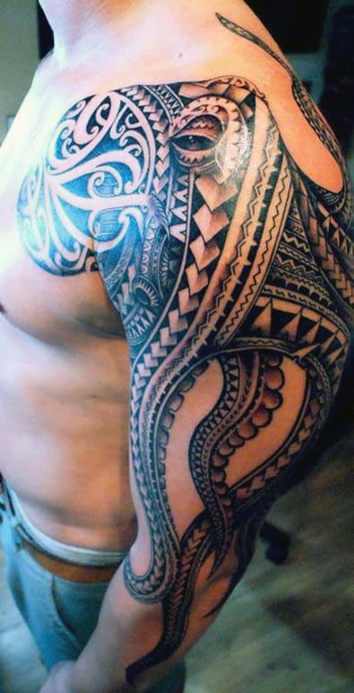 Tribal Octopus Men's Tattoo Japanese