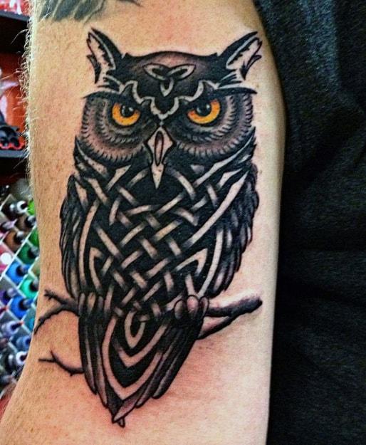 Tribal Owl Head Guy's Tattoo