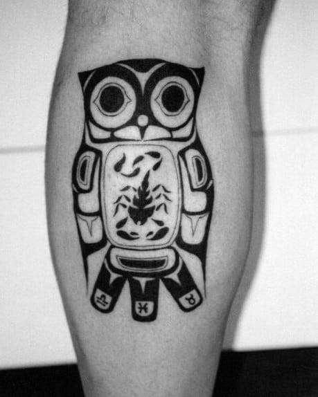 Tribal Owl With Scorpion Mens Haida Leg Calf Tattoo