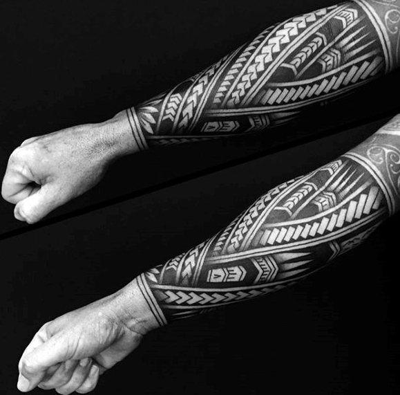 Tribal Polynesian All Black Mens Forearm Sleeve Tattoos
