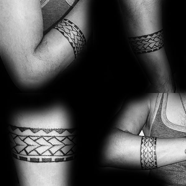 Tribal Polynesian Forearm Band Tattoos For Males