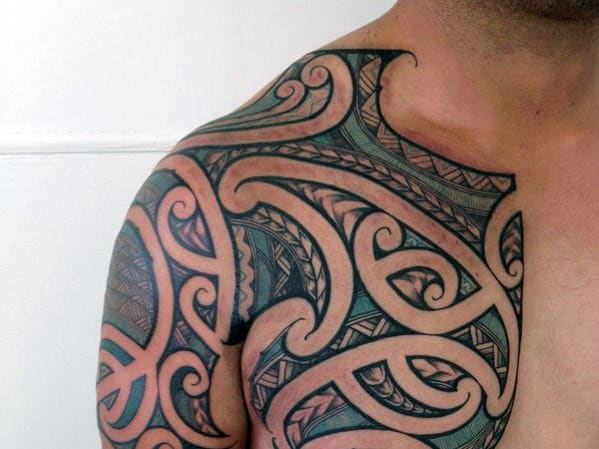 Tribal Polynesian Thin Blue Line Guys Chest And Arm Tattoos