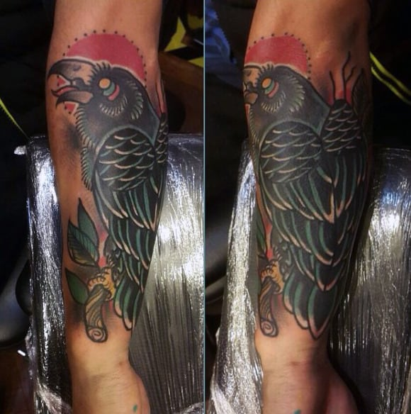 Tribal Raven Tattoos On Forearms For Males