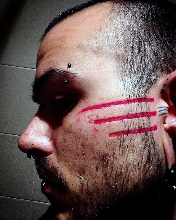Tribal Red Ink Lines Mens Stripe Face Tattoos