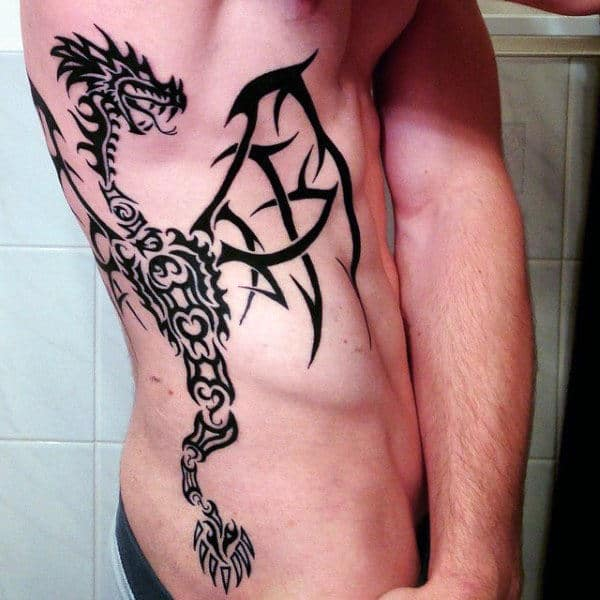 Tribal Rib Cage Side Dragon Male Tattoos