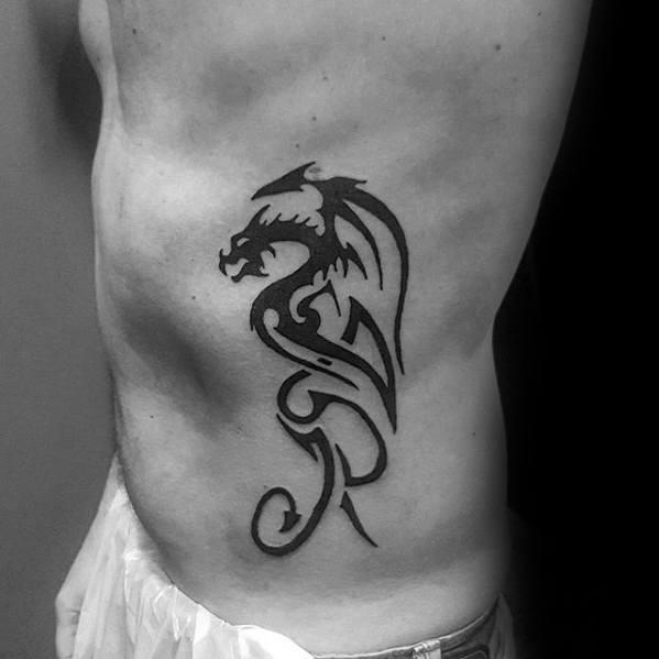 Tribal Rib Cage Side Simple Dragon Male Tattoo Designs