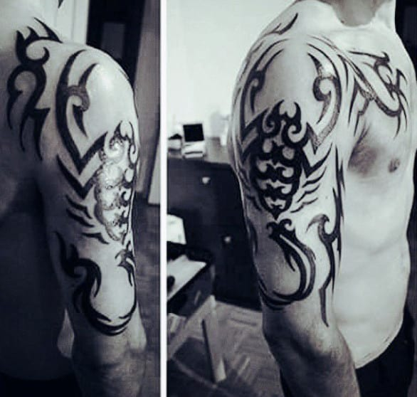 Tribal Scorpio Mens Arm Tattoo Design Ideas