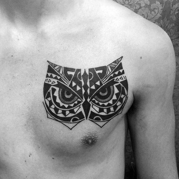 Tribal Shoulder Chest Male Tattoos