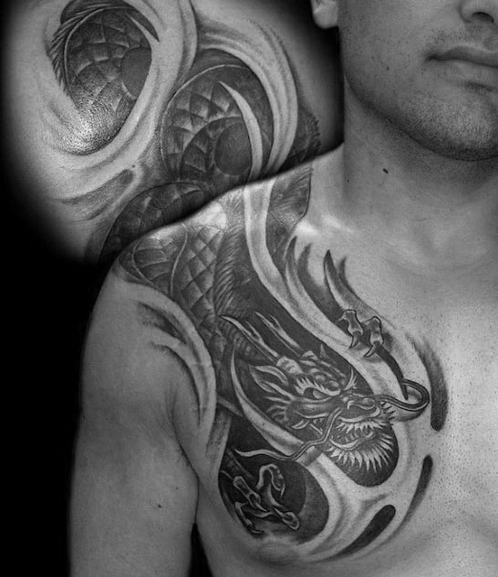 Tribal Shoulder Dragon Guys Tattoo Ideas
