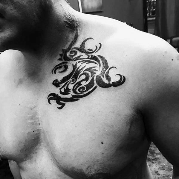 Tribal Shoulder Gentleman With Simple Dragon Tattoo