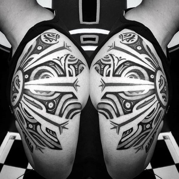Tribal Shoulder Sun Design Mens Tattoos