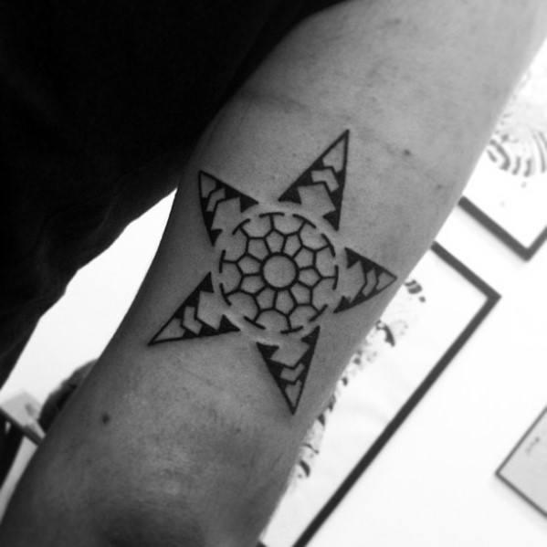 Tribal Simple Star Pattern Mens Tricep Tattoo