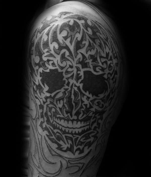 Tribal Skull Male Tattoos On Arm