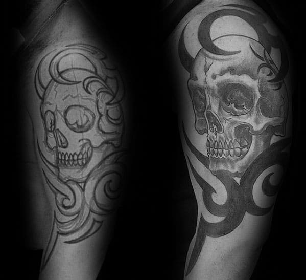 Tribal Skull Mens Tattoo Ideas On Arm