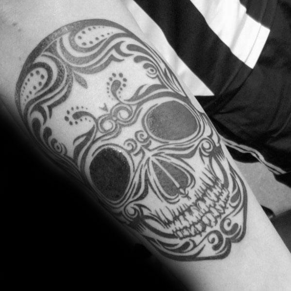 Tribal Skull Tattoo Design Ideas For Males On Inner Forearms